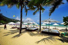 beach front view at Kamala Beach, Phuket, Thailand