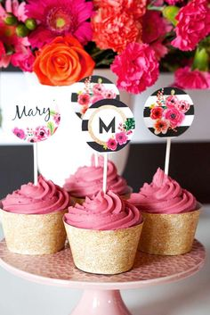 Pretty cupcakes at a black and white floral birthday party! See more party ideas at CatchMyParty.com!