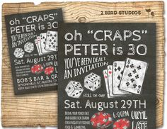 Casino invitation for poker party birthday  30th by 2birdstudios, $20.00
