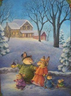 Ideas vintage house illustration susan wheeler for 2019 Susan Wheeler, Bunny Art, Cute Bunny, Beatrix Potter, Christmas Pictures, Christmas Art, Peter Rabbit, Children's Book Illustration, Whimsical Art