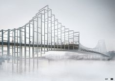 Rival designs unveiled for a new pedestrian and cycle bridge in London that would stretch over the Thames between Nine Elms and Pimlico Bridges Architecture, Concept Architecture, Architecture Design, Paper Architecture, London Architecture, Landscape Architecture, Landscape Design, Brooklyn Bridge, London Bridge