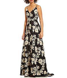 Calvin Klein SpaghettiStrap FloralEmbroidered Gown #Dillards