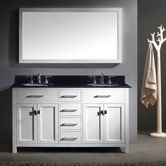 Virtu USA Caroline 60 Inch Double Bathroom Vanity Set With Black Granite Top  With Round
