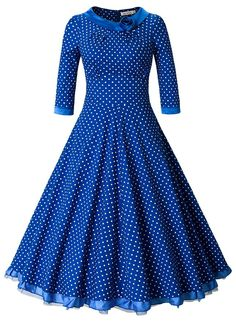MUXXN Women's Rockabilly Sleeve Swing Vintage Dress (L, Blue Dot) Super classic and formal feel The scoop neck is lined with a black satin and a satin rose Suitable for any occassions Imported PLS see the size information in product description Vintage Dresses 1960s, Vintage Outfits, Vintage Clothing, Rockabilly Wedding Dresses, Retro Fashion, Vintage Fashion, Plus Size Prom, African Traditional Dresses, Pin Up Dresses