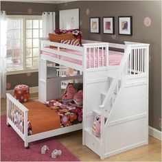 bunk bed with stairs.