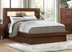 Arata Contemporary Cappuccino Brown Wood Queen Platform Bed