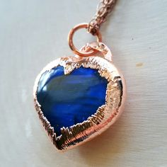 Laborodite heart electroformed necklace, just look at that blue flash! Available at LovesGardenJewelry.Etsy.com #laborodite #gemstone #electroform #science #healingstones #boho #hippie #pendant #lovesgarden #bohochic #handmade