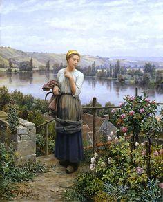 Schilderij van Daniel Ridgway Knight. Painting of Daniel Ridgway Knight. Partant pour le Travail
