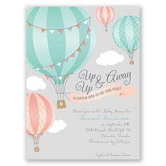 Hearts will lift in such delight at the sight of these hot air balloon baby shower invitations. An ultra charming illustration with 'Up, Up & Away' appears above your wording. Customize wording to fit your preferred colors and style. Envelopes are included with these baby shower invitations.