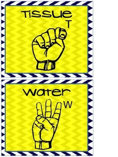 Wall Posters of Hand Signals for Bathroom, Water and ...