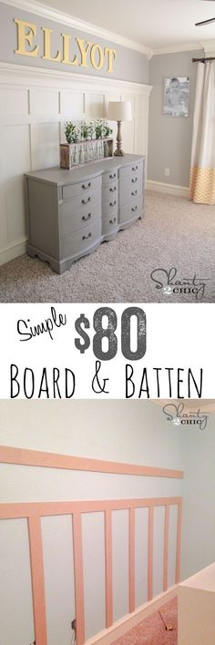Easiest EVER DIY Board & Batten wall tutorial. I want to do this for under the tv when we remodel the living room! Casa Clean, Board And Batten, Diy Home Improvement, My New Room, Home Projects, Diy Furniture, Antique Furniture, Painted Furniture, Home Remodeling