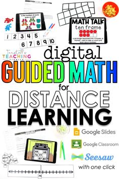 A digital math e-learning tool for home or school used by parent/guardian/adult or teacher to teach and reinforce standards in a non-standard setting.  This is the e-learning component to the Guided Math instruction happening in class.  Digital guided math was created for remote learning, but can also be used in the classroom too!  There are 5 parts to each e-lesson that can be used at school, at home, or a combination of both.  Each 5 part e-lesson can be done over 2-3days.