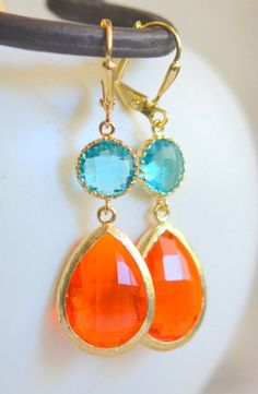 Aquamarine and Fire Orange Bridesmaid Earrings. Jewel Fashion Earrings. Blue Zircon and Orange Dangle Earrings. Drop Earrings. Gift.