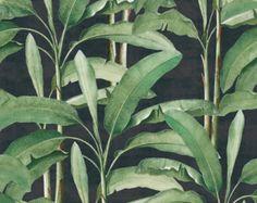 Les feuilles tropicales sur ébène facile à appliquer amovible Peel ' n Stick fond d'écran