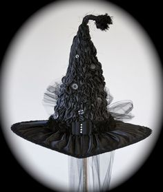 Handmade Sculpted Victorian Witch Hat, All Black, Black Hat Society, Witches Ball New Orleans, 50th Birthday Party, Renaissance Festival