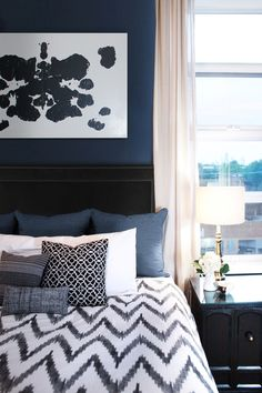 navy bedroom --Behr Ultra English Channel