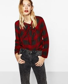 Image 2 of CHECKED KNOTTED TOP from Zara