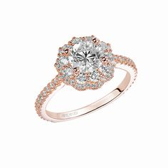 Artcarved Bridal: PRISCILLA, 31-V449, Rose gold diamond engagement ring with round prong set double row diamond floral halo and straight diamond prong set shank.  #ArtCarvedBridal
