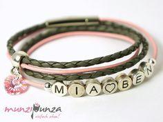 Namensarmbänder - Namensarmband LEDER Armband Art. 139 - ein Designerstück von munzipunza bei DaWanda