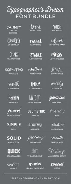 A typographer's dream font collection. 33 Fabulous Fonts for graphic design projects, web design, blogging, crafting, weddings, DIY projects and more. Includes script fonts, sans serif, serif, handwritten and calligraphy.