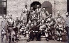 This vintage American History photo features Mormon polygamists in prison, wearing the traditional black-and-white-striped uniforms. Photo taken at Utah Penitentiary, circa Remember American History with this print from The War Is Hell Store. History Guy, Mormon History, Family History, Church History, History Facts, 24 September, South Of The Border, Old Pictures, Mormons
