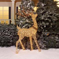 "Holiday Time 60"" Champagne Turn Head Buck Light Sculpture - Walmart.com"