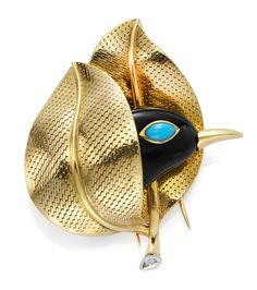"Cartier. A Gold, Turquoise and Black Onyx ""Shy Bird"" Brooch, by Cartier Paris.   Available at FD. www.fd-inspired.com"