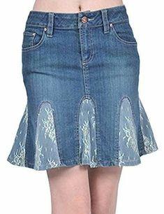 AvaCostume Womens Lace Flare Denim Pencil Skirts skirt AvaCostume Women's Irregular Lotus Leaf Mermaid Fish Tail Long Skirt, M, Green Artisanats Denim, Denim And Lace, Denim Flares, Sewing Clothes, Diy Clothes, Clothes Refashion, Denim Pencil Skirt, Pencil Skirts, Denim Skirt Outfits