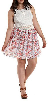 Plus Size Lace & Floral Print Skater Dress