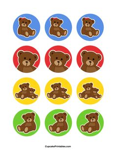 Free printable cupcake toppers in PDF format. Themes include animals, holidays, nature, and more. Teddy Bear Cupcakes, Teddy Bear Party, Cute Teddy Bears, Party Favor Tags, Party Favors, Build A Bear Party, Bear Theme, Bottle Cap Crafts, Colorful Party