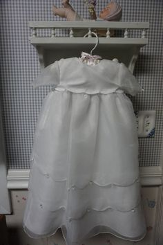 PETITE CHERI Christening gown 0-3 mo. organza scalloped layers dazzeling prisms #PetiteCheri #Gown