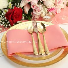 Wholesale coral napkins for weddings, events, hotels and catering services. Buy wholesale wedding linens direct from Burlap and Silk for huge discounts. Wedding Linens, Wedding Napkins, Wedding Table, Coral Gold Weddings, Table Setting Inspiration, Wedding Inspiration, Tiffany Wedding, Table Arrangements, Cloth Napkins
