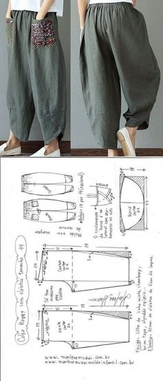 Baggy pants with elastic waistband DIY - shaping, cutting and stitching - Marlene Mukai . - Baggy trousers with elastic waistband DIY – shaping, cutting and stitching – Marlene Mukai – - Diy Clothing, Clothing Patterns, Dress Sewing Patterns, Pattern Sewing, Free Pattern, Sewing Pants, Sewing Clothes, Fashion Sewing, Diy Fashion