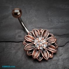 Vintage Rustica Sunflower Sparkle Belly Button Ring