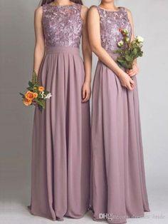 Dusty Mauve Long Chiffon Jewel Neck Sleeveless Off The Shoulder Floor Length Bridesmaid Dresses For Wedding 2016
