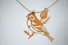Handmade Papercut Goldfinch Bird Cut Paper by FlyingPaperAirplane, $48.00
