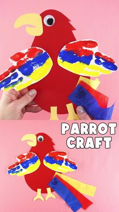 The colorful handprint feathers add an extra special touch to this easy parrot craft. Preschoolers and kids will love getting to personalize their parrot in the colors of their choosing too. #iheartcraftythings Halloween Crafts For Toddlers, Christmas Crafts For Kids To Make, Animal Crafts For Kids, Paper Crafts For Kids, Toddler Crafts, Fun Crafts, Art For Kids, Kindergarten Christmas Crafts, Preschool Arts And Crafts