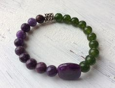 Lepidolite and Green Jade bracelet, beaded yoga bracelet, luck bracelet, boho bracelet, stackable bracelet, gift for her, by nuttygals on Etsy