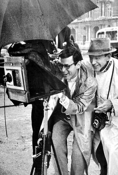Fred Astaire and Richard Avedon on set of 'Funny Face'.