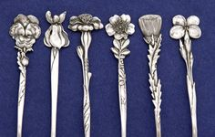 Details of Tiffany & Co. 'Floral' Sterling Silver Demitasse Spoons - set of 12, c. 1890 | JV