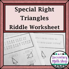 Special Right Triangles Coloring Activity Special right