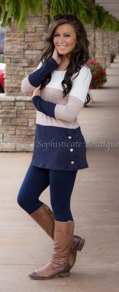 Navy Color Block Tunic with Buttons / Southern Sophisticate Boutique