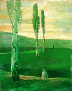 Gulácsy, Lajos (1882-1932) - Spring in Campagna, 1903- 1904 Hungary, Art Forms, All The Colors, Art Gallery, Colours, Landscape, Colourful Art, Drawings, Green