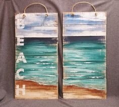 Pallet beach wall Art, LARGE, Distressed BEACH,  Custom 2 Piece Artwork,  Hand painted, handmade rustic, Seascape horizon, ocean,