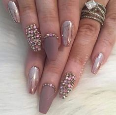 Matte  polish bling and pink Chrome nails