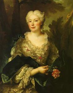 1740 Porträt einer Frau mit Nelke (German title) by Nicholas de Largilliere