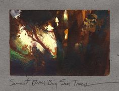 Nathan Fowkes, Land Sketch: Big Sur trees on the central California coas. Pastel Landscape, Watercolor Landscape, Landscape Art, Landscape Paintings, Landscapes, Art And Illustration, Sketchbook Inspiration, Painting Inspiration, Nathan Fowkes