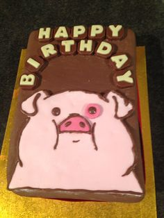 Made this chocolate cake with waddles the pig from gravity falls on it. Very easy to make with a shop bought cake, pink fondant and chocolate icing and chocolate letters