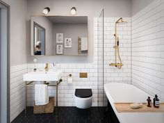 petite salle de bain moderne carrelage metro blanc carreaux hexagonaux noirs accents dore #bain #moderne #bathroom