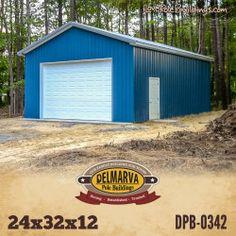 Garage Kits, Garage Shop, Garage Ideas, Pole Barn Shop, Pole Barns, Pole Building Kits, Gable Wall, Carriage House Garage Doors, Gambrel Roof